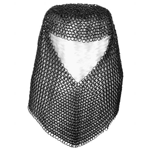 Kettenhemd komplett mit Haube aus schwarzen Ringen